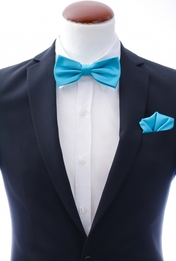 Turquoise bow tie and handkerchief silk