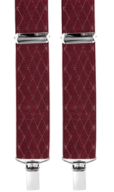Suspenders 3,5 cm | Diamond Pattern | Burgundy