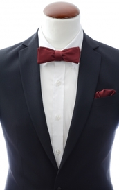 Slim Self Tie Bow Tie + Handkerchief Burgundy