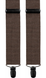 Brown Wool Suspenders Herringbone