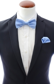Light blue bow tie and handkerchief silk