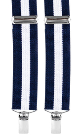 Striped Suspenders 3,5 cm | Navy/White