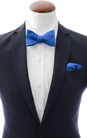 Blue self-tie bow tie and handkerchief silk
