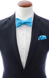 Turquoise self-tie bow tie and handkerchief silk