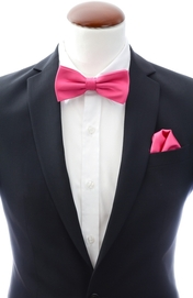 Cerise pink bow tie and handkerchief silk