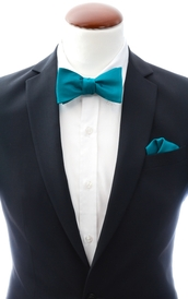 Teal self-tie bow tie and handkerchief silk