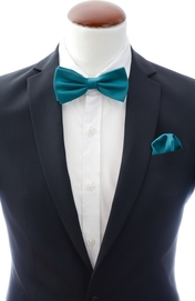 Teal bow tie and handkerchief silk