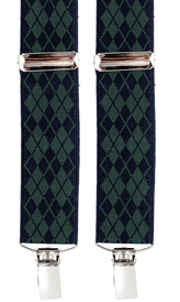 Diamond Patterned Suspenders 3,5 cm | Navy