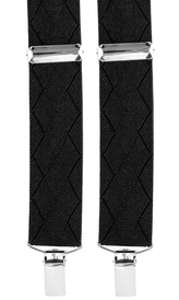 Diamond Patterned Suspenders 3,5 cm | Black