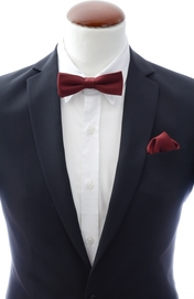 Slim Bow Tie + Handkerchief Burgundy
