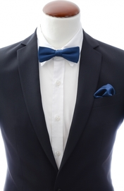 Slim Bow Tie + Handkerchief Navy