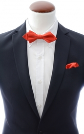 Diamond tip Bow Tie and Handkerchief Light Red