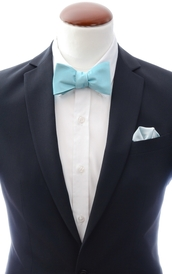 Mint blue self-tie bow tie and handkerchief silk