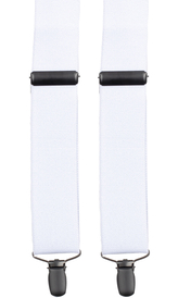 Skinny White Suspenders Black Clips