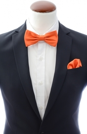 Orange bow tie and handkerchief silk
