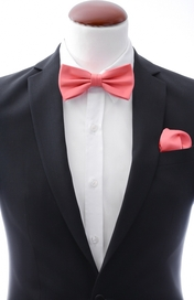 Light coral bow tie and handkerchief silk