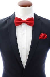 Red bow tie and handkerchief silk