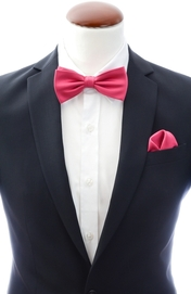 Dark coral bow tie and handkerchief silk