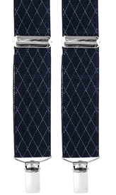 Suspenders 3,5 cm | Diamond Pattern | Navy