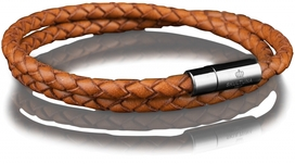 Leather Bracelet Steel 4MM - Brown