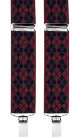 Diamond Patterned Suspenders 3,5 cm | Burgundy