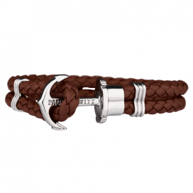 Phrep Leather Bracelet Brown - Silver