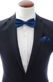 Navy bow tie and handkerchief silk
