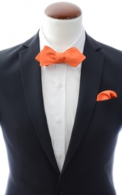 Diamond tip Self Tie Bow Tie + Handkerchief Orange