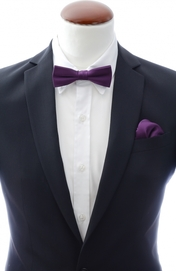 Slim Bow Tie + Handkerchief Dark Purple
