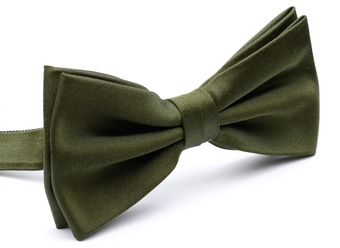 Olive green silk bow tie pre-tied