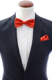 Light red bow tie and handkerchief silk
