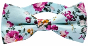 Roses Cyan Blue Cotton Bow Tie