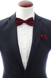 Dark burgundy bow tie and handkerchief silk