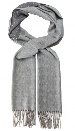 Herringbone Dots Wool Scarf | Stone Grey