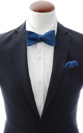 Navy self-tie bow tie and handkerchief silk