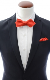 Diamond tip Self Tie Bow Tie + Handkerchief Light Red