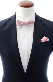 Slim Bow Tie + Handkerchief Light Pink
