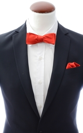 Slim Self Tie Bow Tie + Handkerchief Light Red