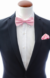 Light pink bow tie and handkerchief