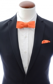 Slim Self Tie Bow Tie + Handkerchief Orange