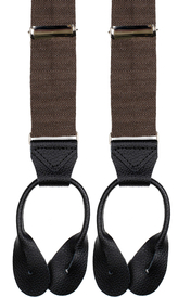Brown Wool Suspenders Leather Herringbone