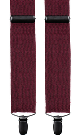 Burgundy Wool Suspenders Herringbone