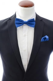 Blue bow tie and handkerchief silk