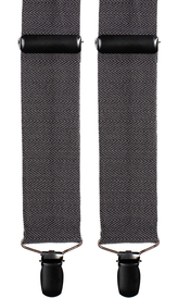 Grey Wool Suspenders Herringbone
