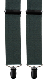 Green Wool Suspenders Herringbone