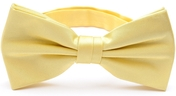 Light yellow silk bow tie pre-tied