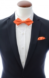 Diamond tip Bow Tie + Handkerchief Orange