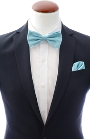 Mint blue bow tie and handkerchief silk