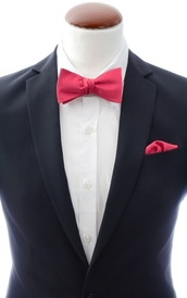 Dark coral self-tie bow tie and handkerchief silk