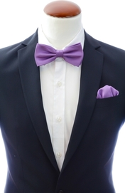 Purple bow tie and handkerchief silk